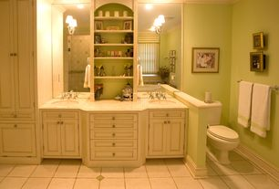 Traditional Master Bathroom with Master bathroom, Inset cabinets, Mirror mounted sconces, Standard height, Bathtub, Shower