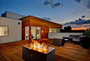 Modern Deck with Elmwood Old Growth Hardwood Paneling, Pathway, Fire pit
