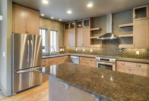 Traditional Kitchen with Flush, L-shaped, Flat panel cabinets, Undermount sink, can lights, Multiple Refrigerators, gas range