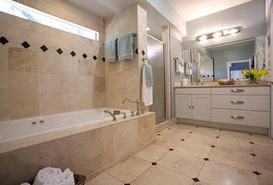 Traditional Full Bathroom with Signature Hardware VINTAGE ROMAN TUB FAUCET AND HAND SHOWER, Flush, Limestone counters