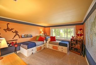 Traditional Kids Bedroom with Built-in bookshelf, RoomMates Sports Silhouettes Peel & Stick Wall Decals, Carpet