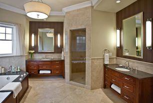 "Traditional Master Bathroom with Flush, Pendant light, George kovacs ada 20 1/2"" wide chrome led bath light, Crown molding"