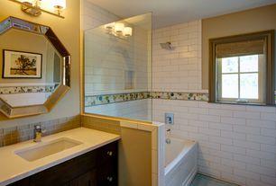 Modern Full Bathroom with Tile Bar Circle Motion Solar Blend Glass Tile, Flat panel cabinets, Undermount sink, Carpet