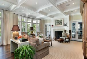 Traditional Living Room with picture window, Cement fireplace, Transom window, Fireplace, can lights, Box ceiling