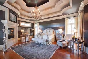 Traditional Master Bedroom with Laminate floors, Chandelier, High ceiling, Casement