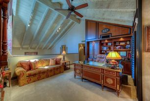 Traditional Home Office with Ceiling fan, Carpet, Chair rail, Exposed beam, can lights, flush light, Built-in bookshelf