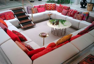 Modern Living Room with Sunken living room, Prima Stacked Turnings Round Side Table, Carpet, Surya Marrakech Pillow