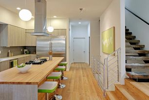 Contemporary Kitchen with Flush, L-shaped, Undermount sink, Breakfast bar, Subway Tile, Wood counters, European Cabinets