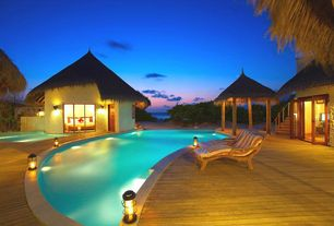 Tropical Swimming Pool with French doors, Gazebo