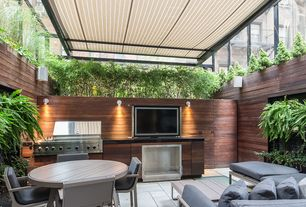 Contemporary Patio with Outdoor kitchen, Raised beds, Fence, exterior stone floors