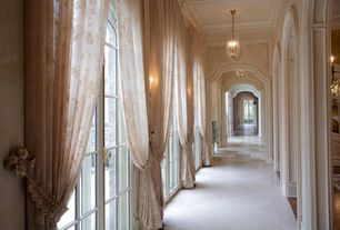 Traditional Hallway with sandstone tile floors, Pendant light, Wall sconce, French doors, Crown molding