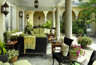 Traditional Porch with Raised beds, exterior stone floors, Wrap around porch, Pathway, French doors, Gate