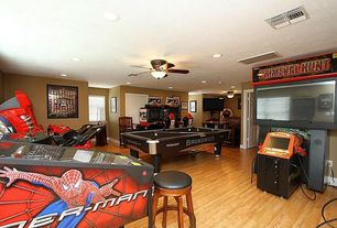 Traditional Game Room with Hardwood floors, Ceiling fan