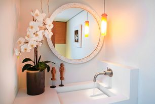 Modern Powder Room with West elm parson's wall mirror, Undermount sink, Adm bathroom design dw-146 wall hung sink