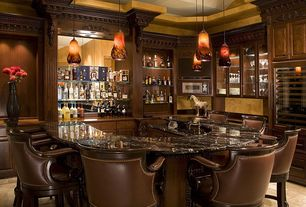 Traditional Bar with Dale Tiffany 27H in. Carmelo Vase, AHB Federico Bar Stool, Concrete tile , Besa 1XC-719841 Karli Pendant