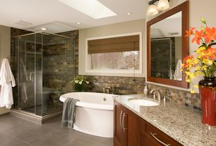 "Craftsman Master Bathroom with Signature Hardware - 72"" Shai Bateau Acrylic Tub, Flat panel cabinets, Slate Tile, Skylight"