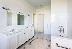 Traditional Master Bathroom with ceramic tile floors, Rain shower, Master bathroom, frameless showerdoor, specialty door