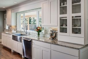 Craftsman Kitchen with Recessed panel full overlay shaker style door, Stainless apron front sink, Shaker style cabinets