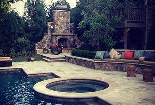 Traditional Patio with exterior stone floors, Pool with hot tub, Pathway, Deck Railing