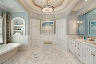 Traditional Master Bathroom with Pental marble floor tile, European Cabinets, Complex Marble, Complex marble counters