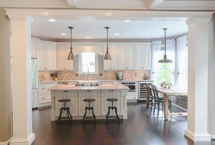 Country Kitchen with High ceiling, Restoration Hardware Reclaimed Russian Oak Angled Leg Rectangular Dining Table, Flush