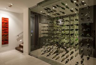 Contemporary Wine Cellar with Abstract I Wall Art by Zavaleta, Carpet, Built-in bookshelf, Custom Acrylic Wine Cellars