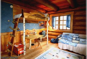 Rustic Kids Bedroom with Art desk, Bunk beds, Hardwood floors, Exposed beam