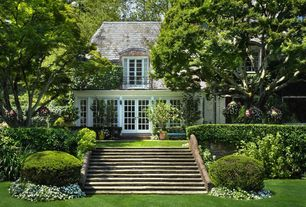 Traditional Landscape/Yard with Green Velvet Boxwood