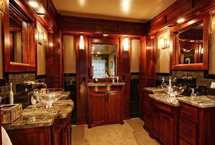 Craftsman Master Bathroom with full backsplash, Ceramic Tile, Simple Granite Tile, Clear glass vessel sink, Master bathroom
