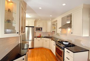 Cottage Kitchen with Standard height, Pental white subway tile, white gloss, Paint 1, Flat panel cabinets, full backsplash