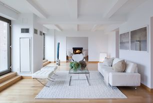 Contemporary Living Room with Exposed beam, Standard height, Contemporary leather sofa, Jaipur rugs city white geometric rug