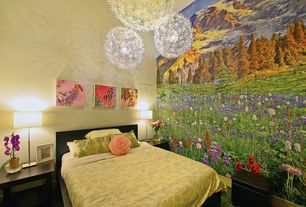 Tropical Guest Bedroom with Ikea ps maskros pendant lamp, Magic murals mountain spectacular, Paint 1