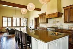 Eclectic Kitchen with Kitchen island, Avenue Lighting Ventura 3-light Rectangular Chandelier, Formica counters, Stone Tile