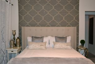 Contemporary Guest Bedroom with SparrowSong Cashmere Quatrefoil Fabric, Skyline Custom Upholstered Tufted Wingback Headboard