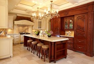 Traditional Kitchen with Raised panel, Custom hood, Undermount sink, electric cooktop, Kitchen island, Standard height