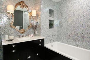 Contemporary 3/4 Bathroom with arizona tile, BIANCO CARRARA, marble, three quarter bath, Standard height, Wall sconce, Flush
