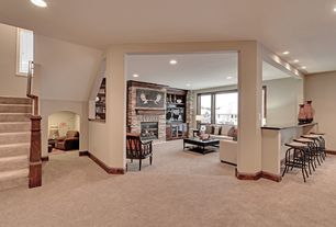 Traditional Basement with Fireplace, Weathered Oak Adjustable Bar Stool, Built-in bookshelf, Standard height, Casement