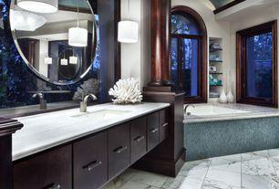 Contemporary Master Bathroom with Wall Tiles, Bathtub, European Cabinets, Columns, drop in bathtub, Undermount sink, Flush