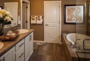 Contemporary Master Bathroom with full backsplash, picture window, Stone Tile, stone tile counters, Double sink, Shower