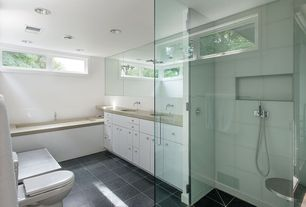 Contemporary Master Bathroom with Takla Full Body Porcelain Tile - Earth Series - Made in USA Stone Age, European Cabinets