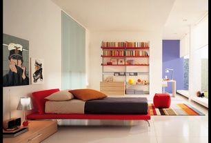Contemporary Master Bedroom with Built-in bookshelf, picture window, Standard height, Concrete tile
