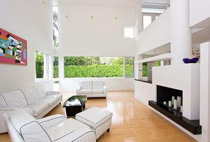 Contemporary Living Room with Hardwood floors, Cathedral ceiling, Casement, insert fireplace, picture window, Wall sconce