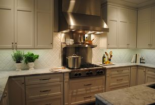 Traditional Kitchen with Somertile - victorian morocco glossy white porcelain mosaic tile, Kitchen island, Undermount sink
