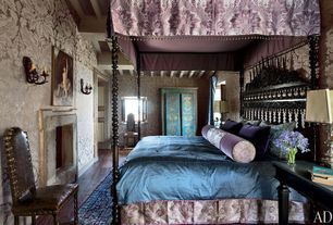 Eclectic Master Bedroom with Fireplace, French doors, Casement, High ceiling, interior wallpaper, Wall sconce, Exposed beam