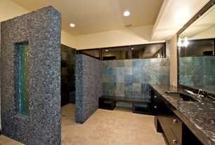 Modern Master Bathroom with Green marinace granite, Complex granite counters, Pebble shower surround, European Cabinets