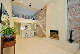 Contemporary Great Room with Concrete tile , Built-in bookshelf, Cathedral ceiling, Loft