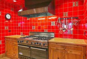 Country Kitchen with Standard height, Flush, Wood counters, Wall Hood, One-wall, Stainless Steel, partial backsplash