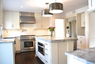 Traditional Kitchen with Sharp Microwave Drawer, Kitchen island, Raised panel, Inset cabinets, White subway tile 3x6 glossy