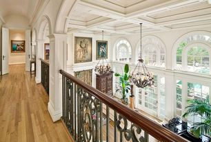 Traditional Hallway with CUSTOM INTERIOR ORNATE STAIR RAILING, Chatelaine 6 Light Candle Chandelier, High ceiling, Columns
