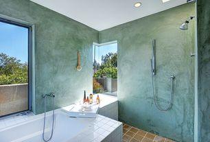 Contemporary Full Bathroom with CB2 Square Hi-Gloss White Tray, slate tile floors, Handheld showerhead, Corner window